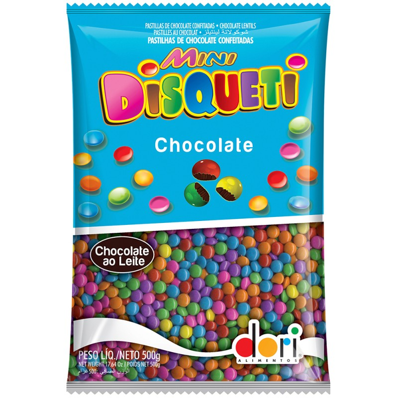 Disqueti Mini Chocolate Colorido 500g Dori