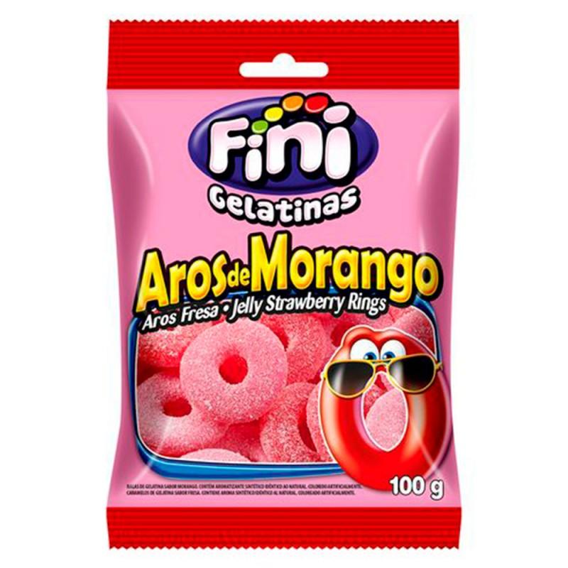 Bala Gelatina • Aros de Morango 100g • Fini