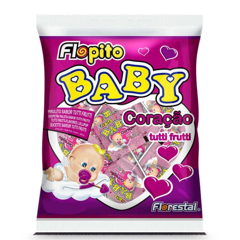 Pirulito Baby Coração • Tutti-frutti • 200g • Florestal