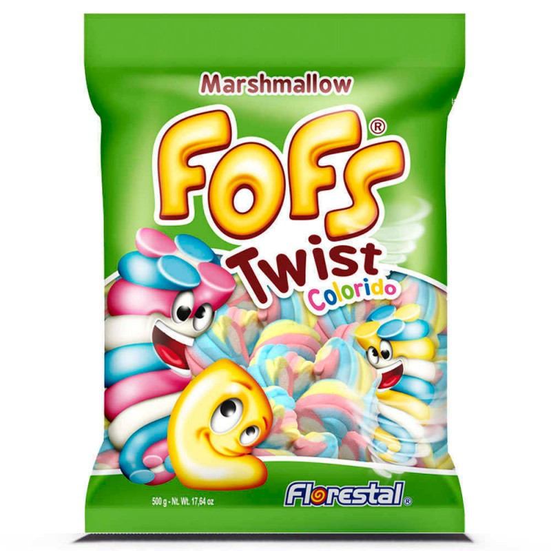 Marshmallow Fofs Twist Colorido 500g • FLORESTAL