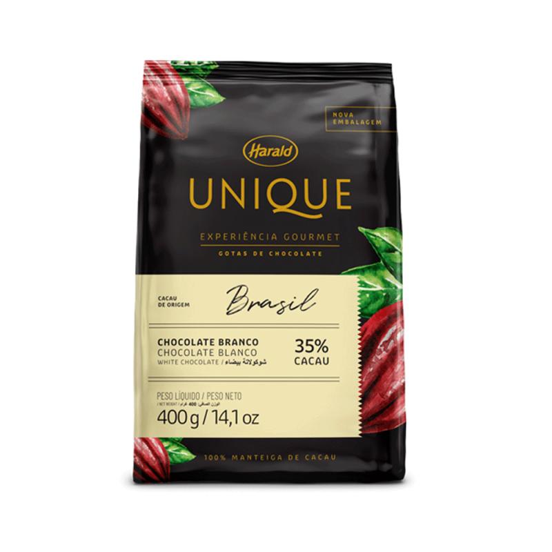 Chocolate Unique Brasil • Branco 35% • Gotas • 400g • Harald