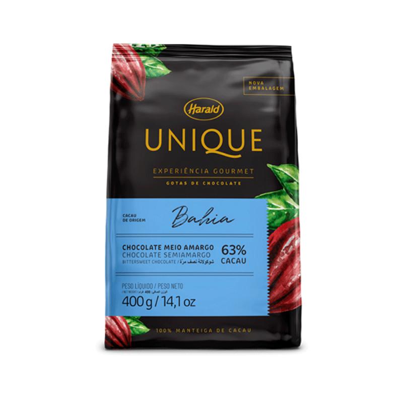 Chocolate Unique Bahia • Meio Amargo 63% • Gotas • 400g • Harald