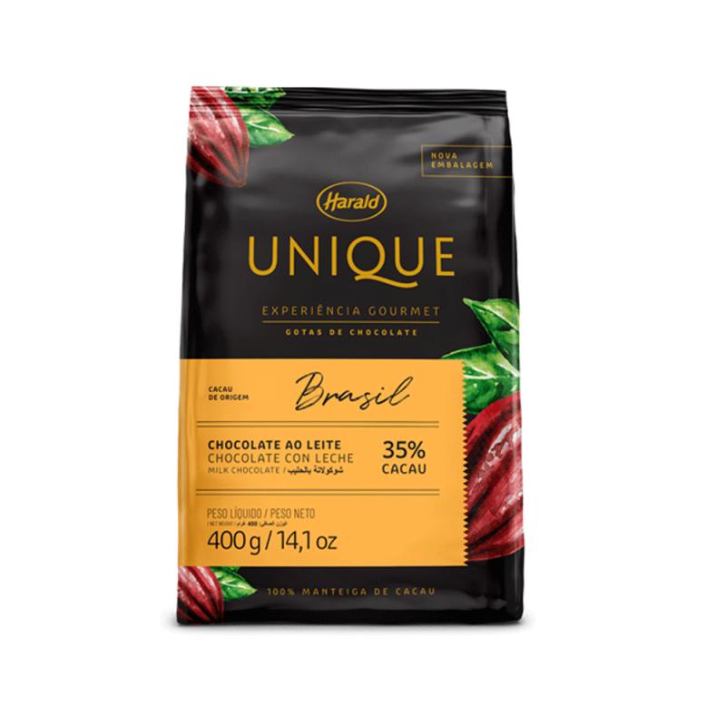 Chocolate Unique Brasil • Ao Leite 35% • Gotas • 400g
