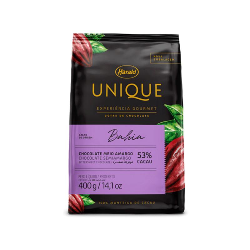 Chocolate Unique Bahia • Meio Amargo 53% • Gotas • 400g • Harald