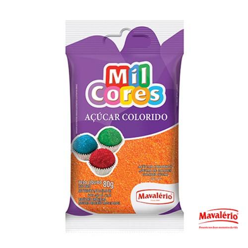 Açúcar Colorido Laranja 80g Mil Cores