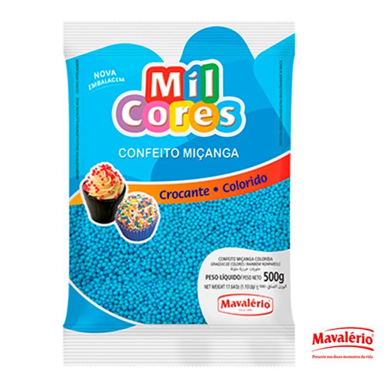 Confeito Miçanga Azul 500g Mil Cores