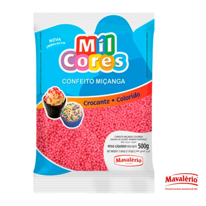 Confeito Miçanga Rosa 500g Mil Cores