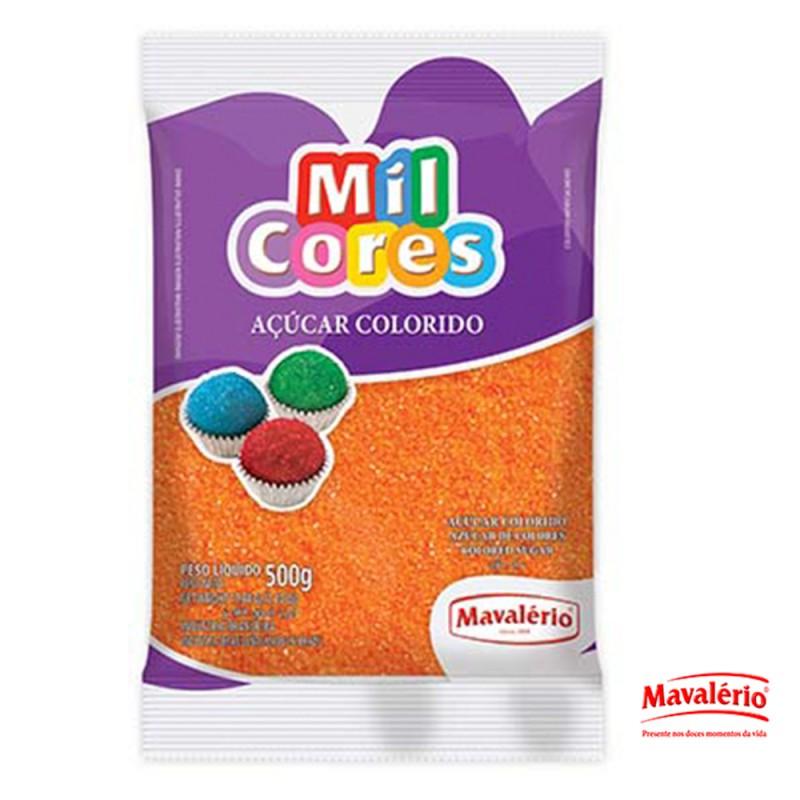 Açúcar Colorido Laranja 500g Mil Cores