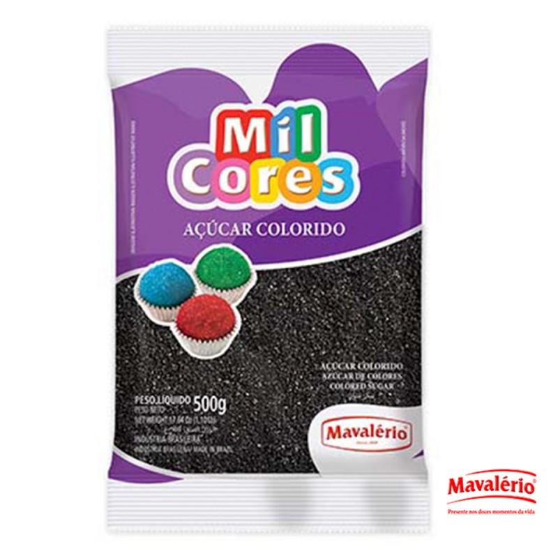 Açúcar Colorido Preto 500g Mil Cores