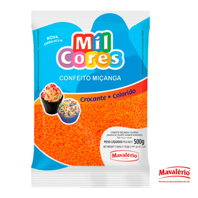Confeito Miçanga Laranja 500g Mil Cores
