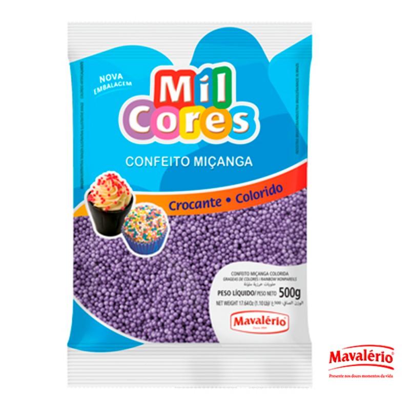 Confeito Miçanga Lilás 500g Mil Cores