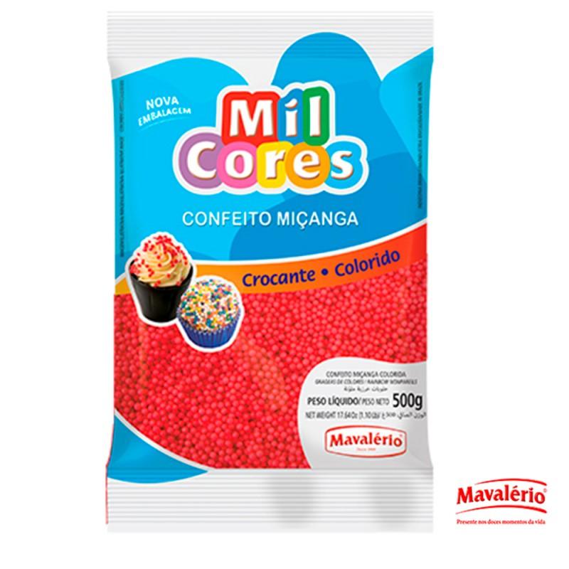 Confeito Miçanga Vermelha 500g Mil Cores
