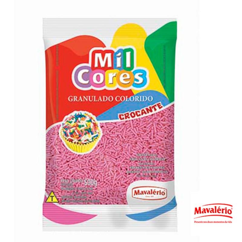 Granulado Rosa Crocante 500g Mil Cores