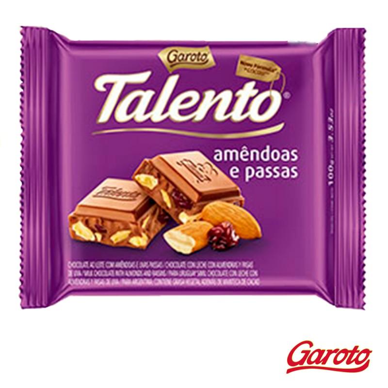 Chocolate • Talento • Amêndoas e Passas • Cx. c/15un-Garoto