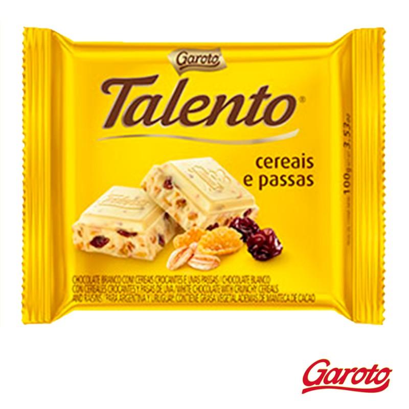 Chocolate Branco • Talento • Cereais e Passas • Cx. c/15un-Garoto