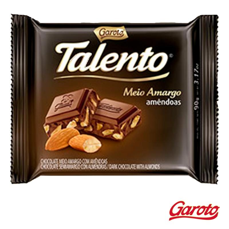 Chocolate • Talento Meio Amargo • Amêndoas • Cx. c/15un-Garoto