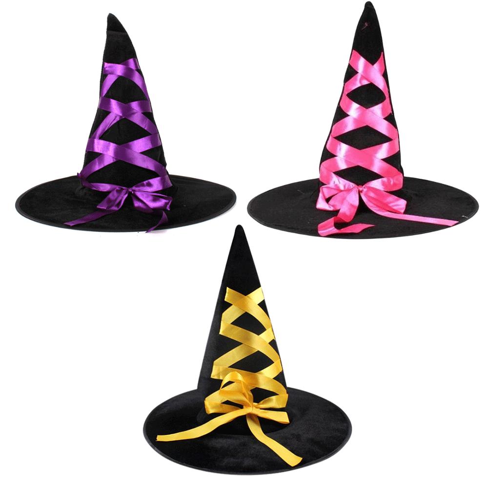 Chapéu de Bruxa Sortido com Laço  - 1Un - Halloween - 3 Cores