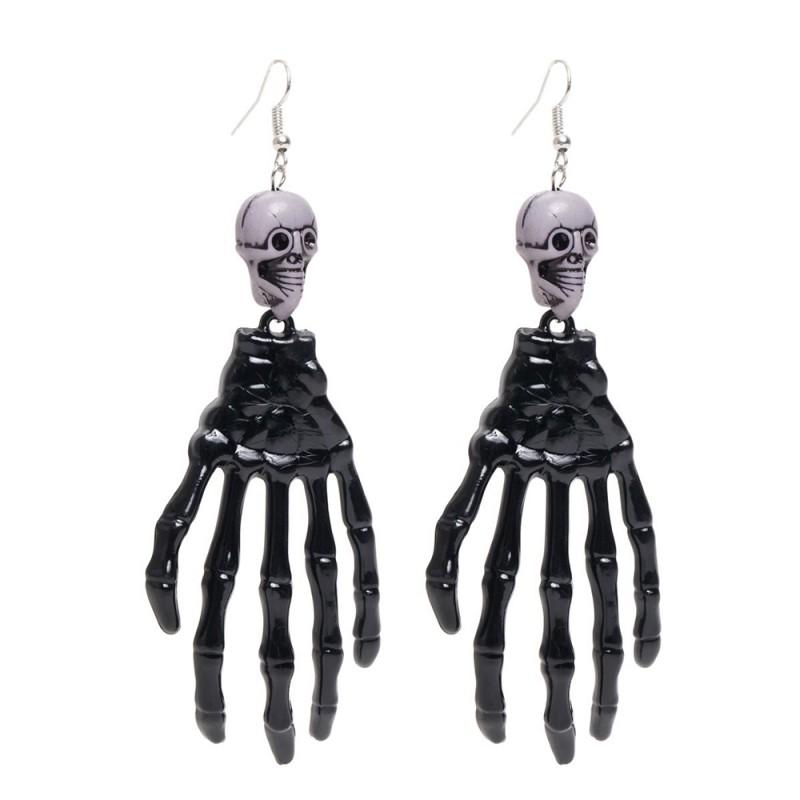 Par de Brincos • Mãos Esqueleto • Preto • Led • Halloween   Cromus