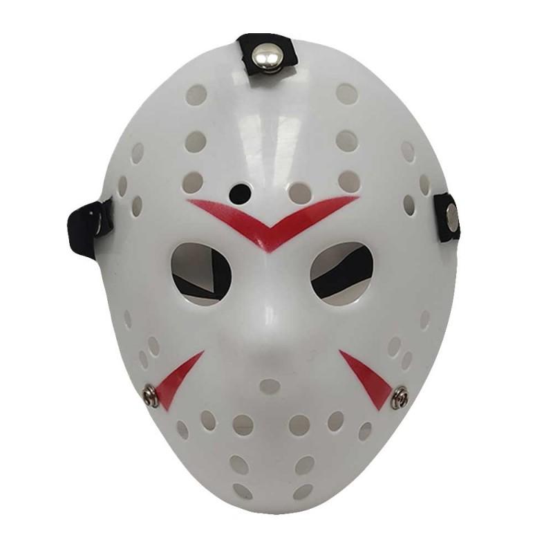 Máscara Jason • Branca • Detalhes Vermelhos • Halloween| GoldParty