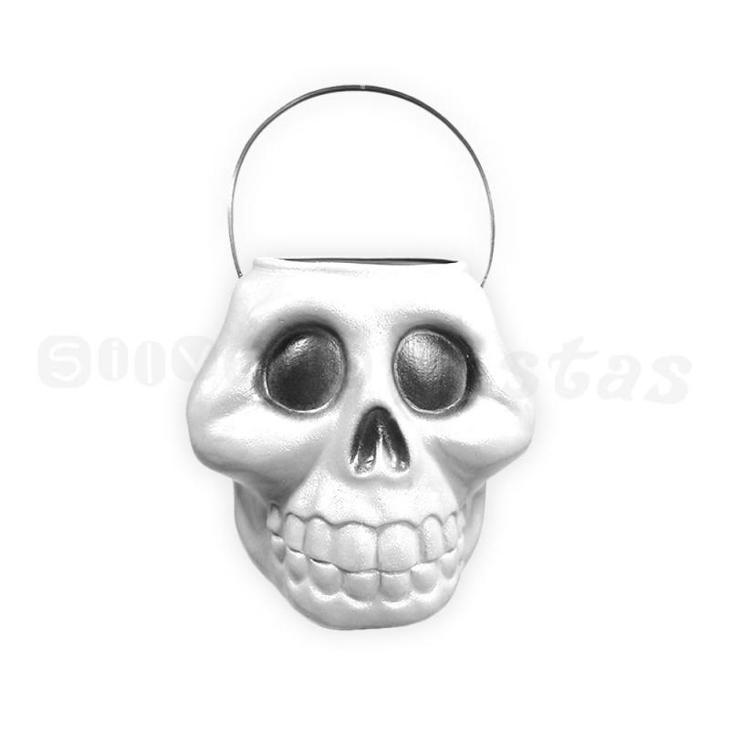 Balde Crânio Plástico • Branco • Halloween