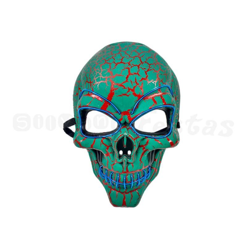 Máscara Caveira com LED • Azul • Halloween