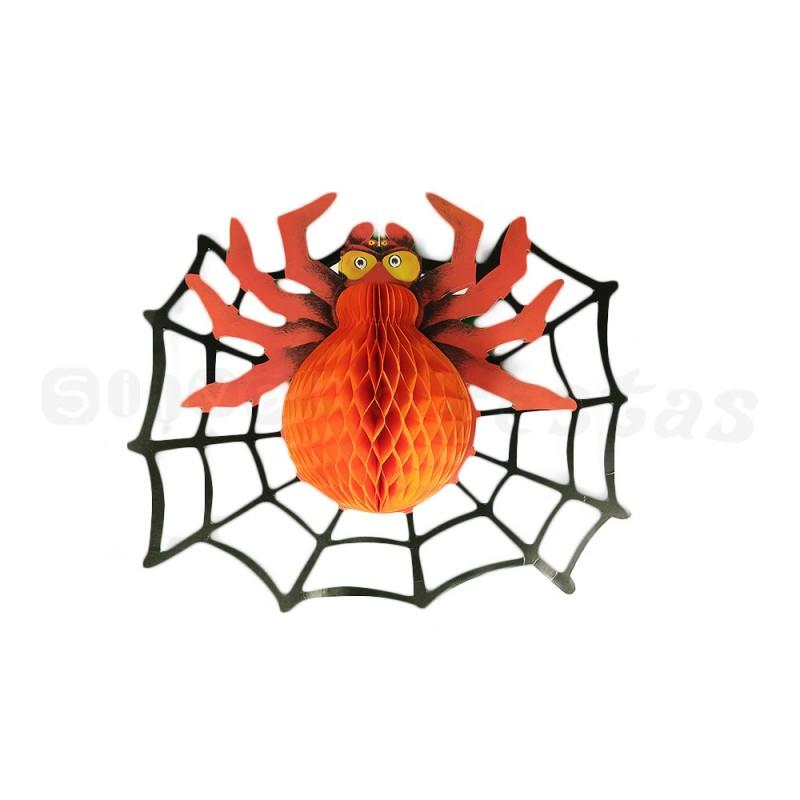 Teia Falsa com Aranha • Preta e Vermelha • Halloween • Modamix