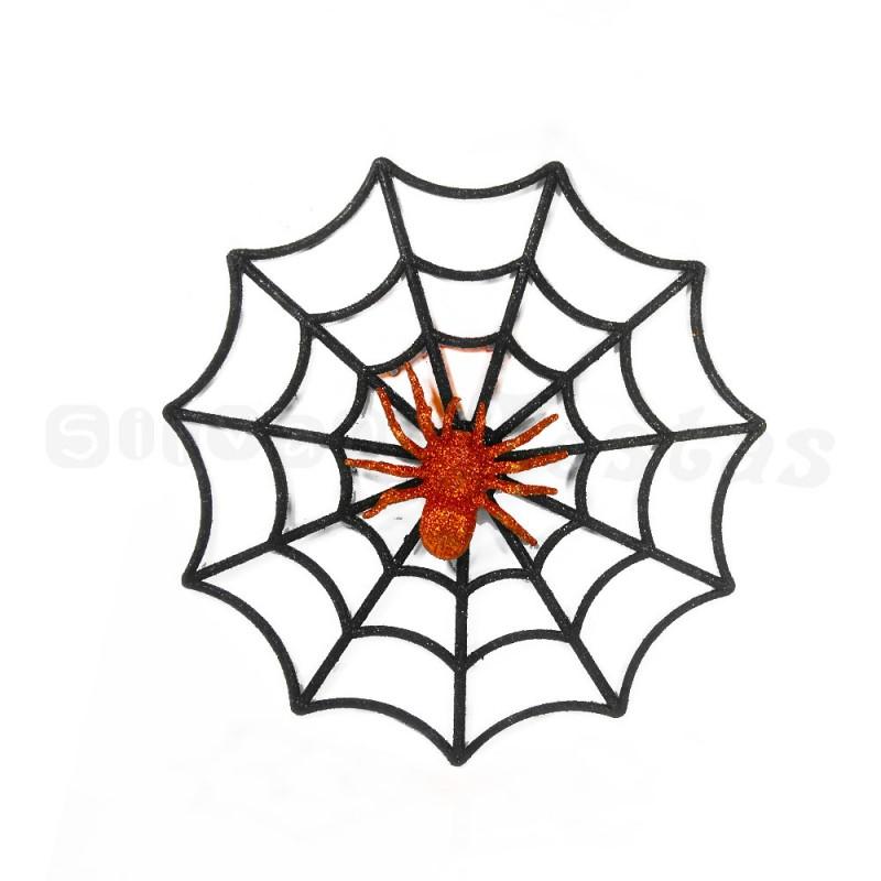 Teia Falsa com Aranha • Preta • Halloween