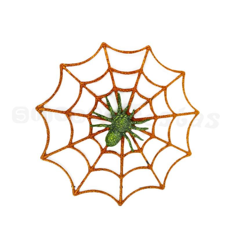 Teia Falsa com Aranha • Laranja • Halloween