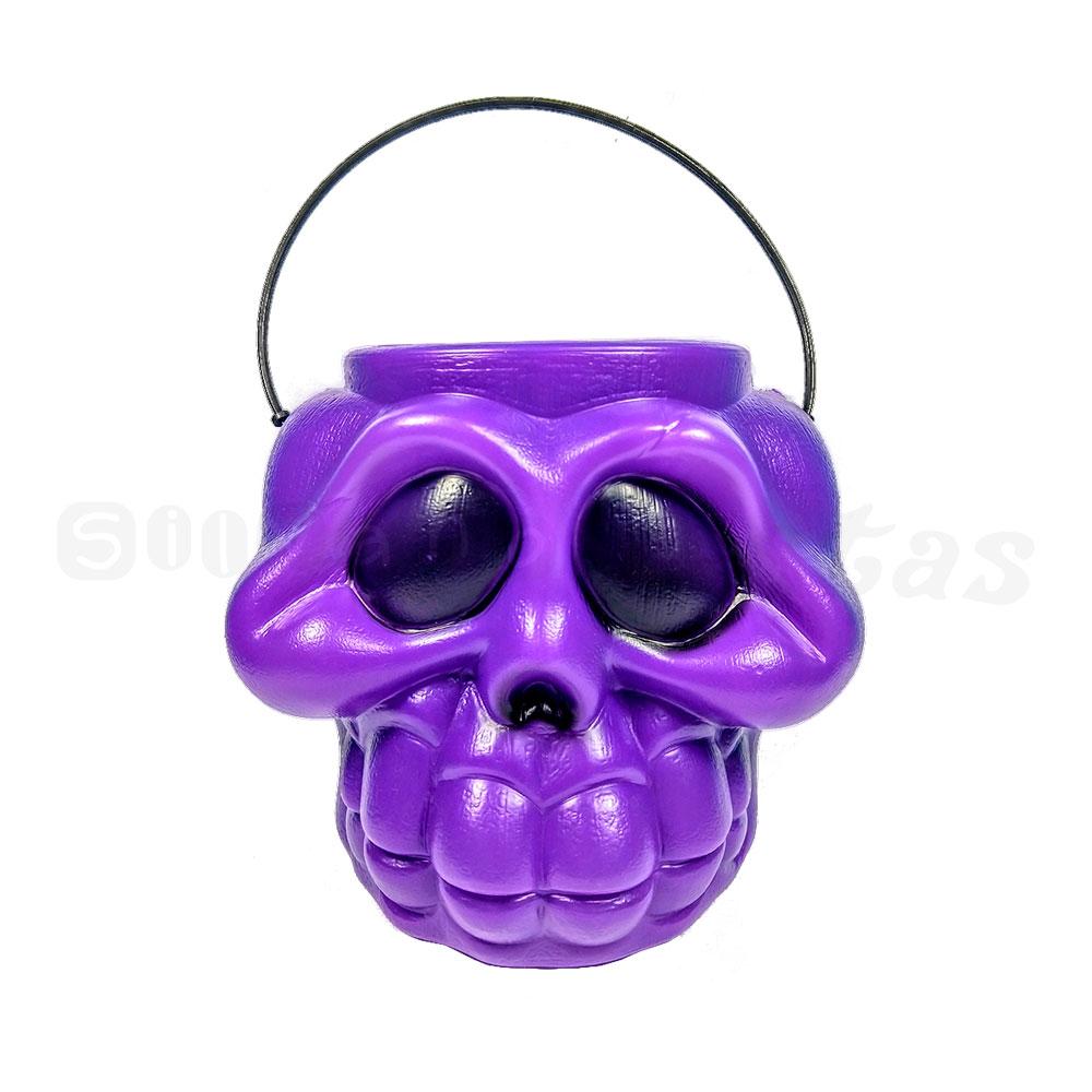 Balde Crânio Plástico • Roxo • Halloween