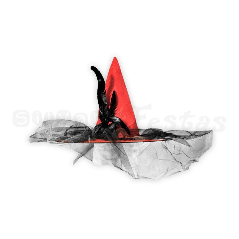 Chapéu de Bruxa com Flor • Vermelho • Halloween