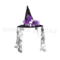 Chapéu de Bruxa com Caveira • Preto • Halloween