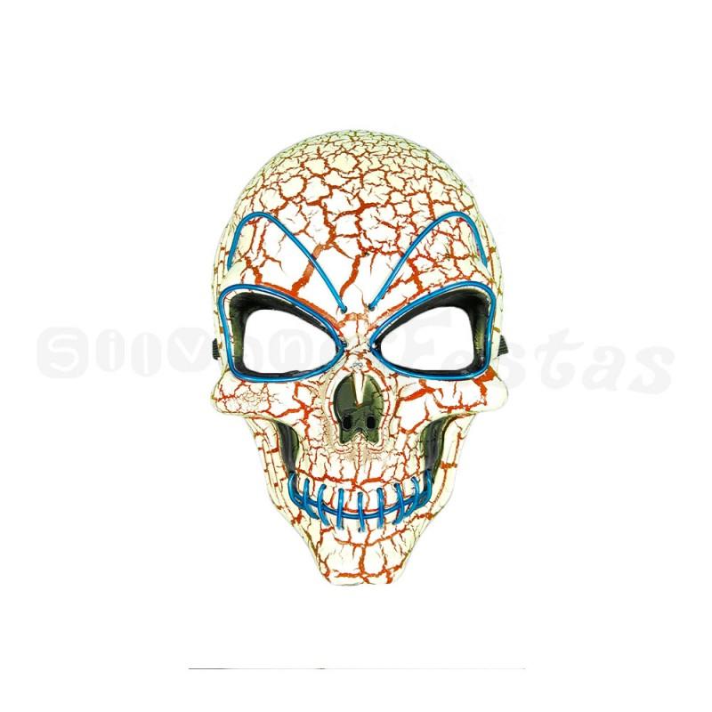 Máscara Caveira com LED • Branca e Azul • Halloween