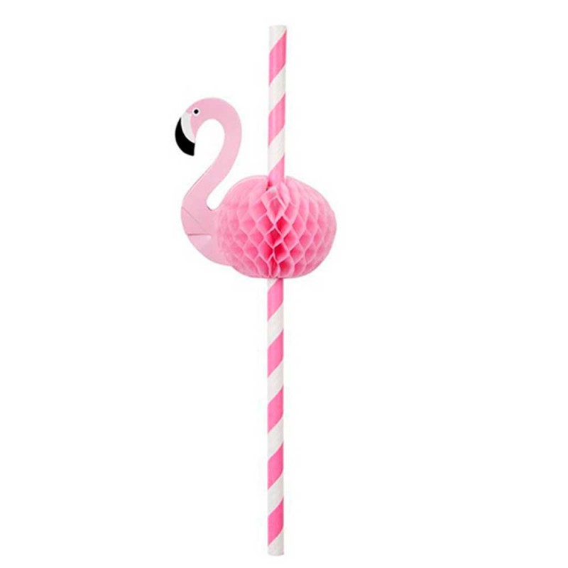 Canudo Sorbete de Papel • 04un.• Listrado • Flamingo