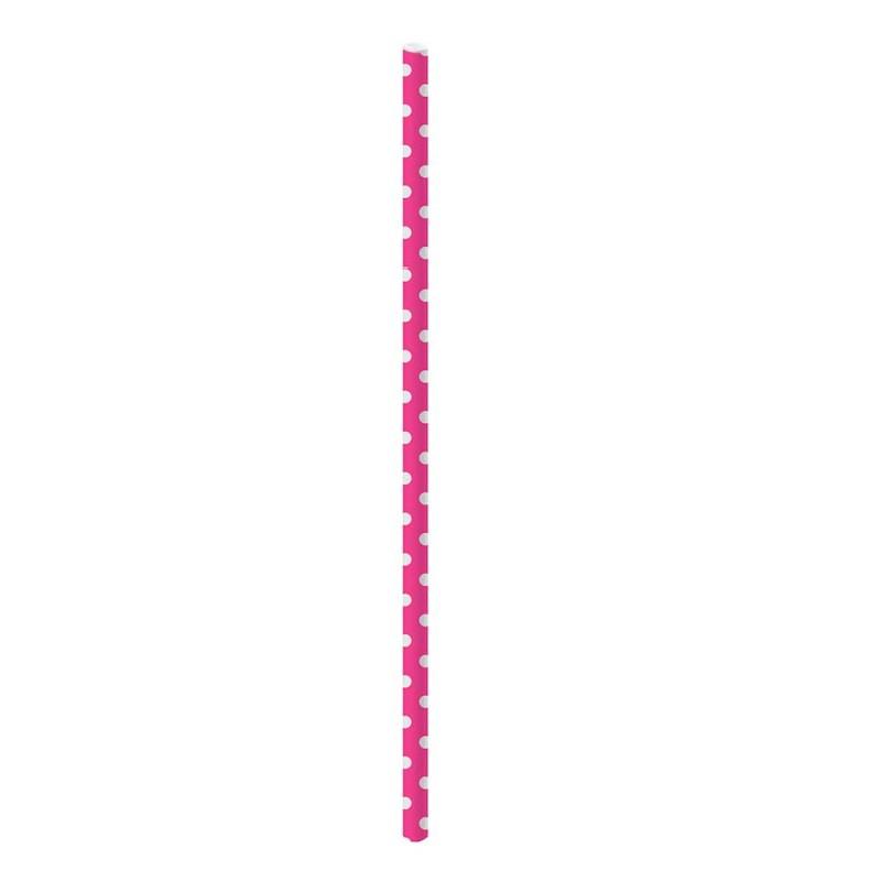 Canudo Sorbete de Papel • 20un. • Bolinhas • Rosa • Cromus