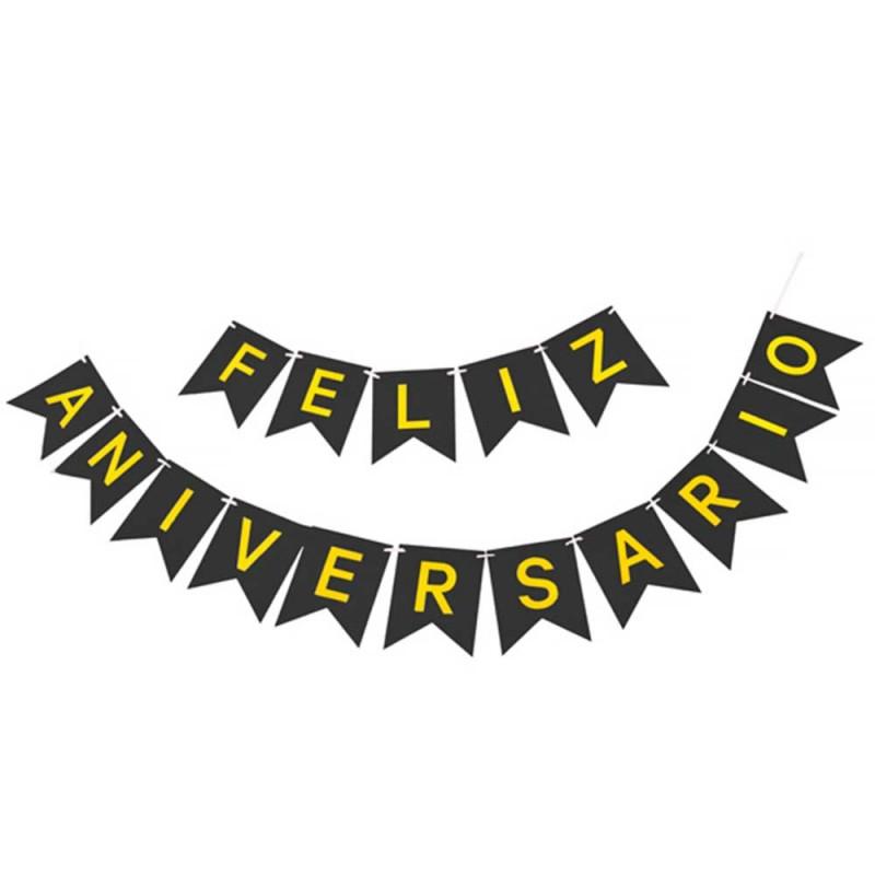 Faixa Feliz Aniversario • Preto