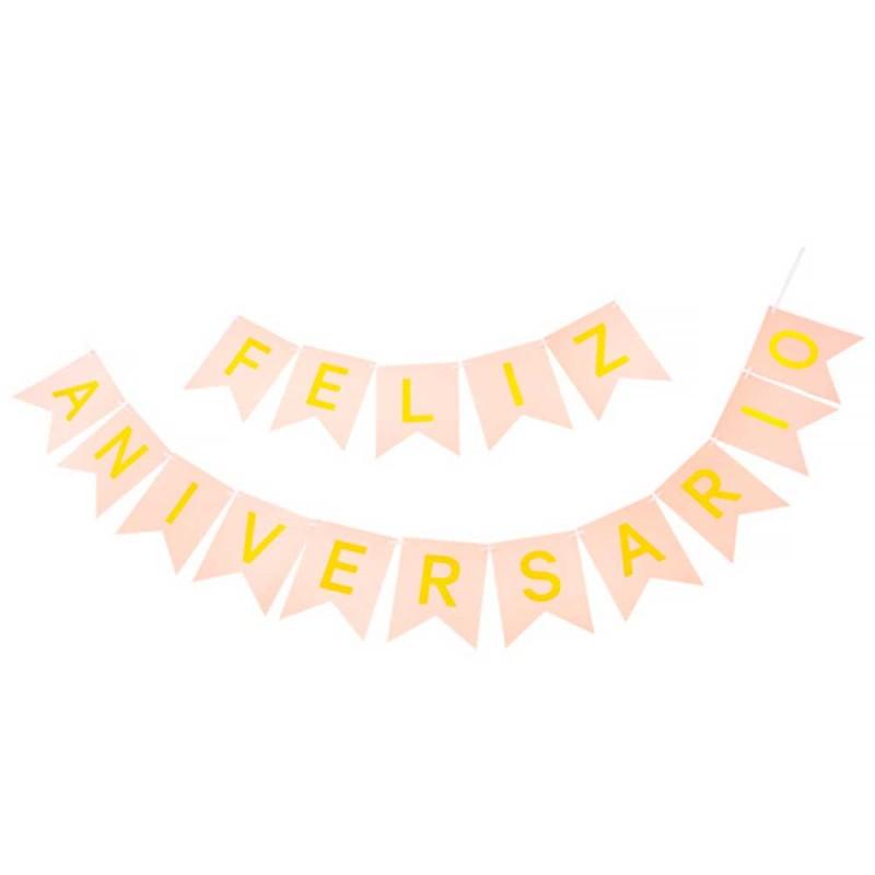 Faixa Feliz Aniversario • Rosa