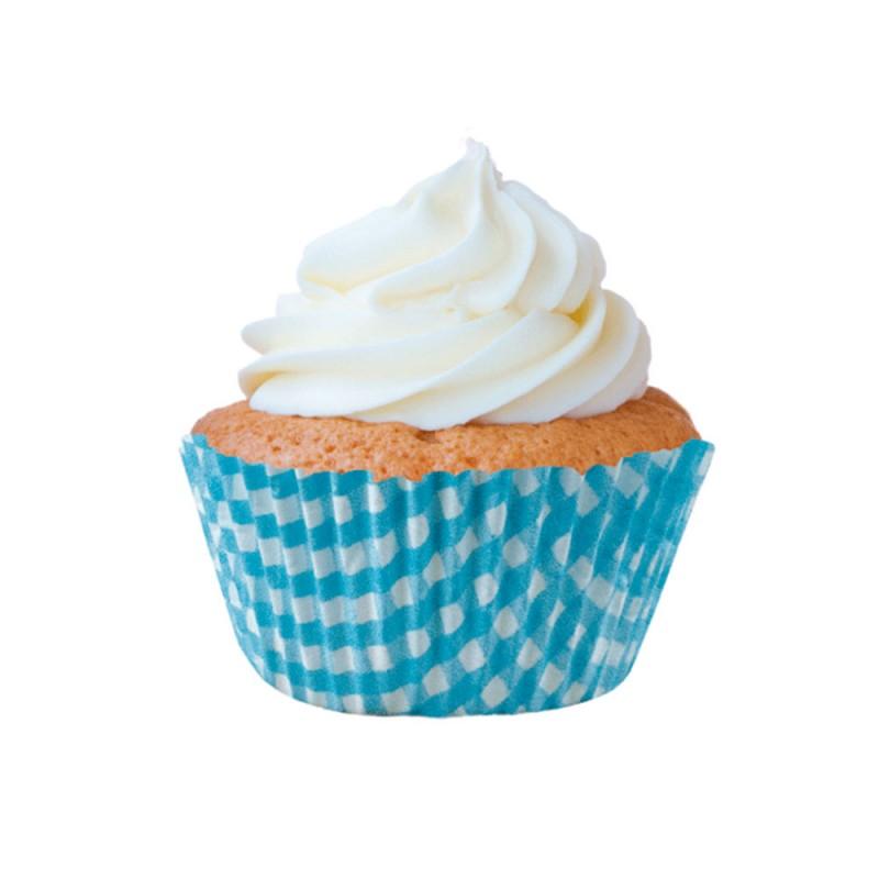 Forma para Mini Cupcake • Xadrez Azul • 45un • Mago