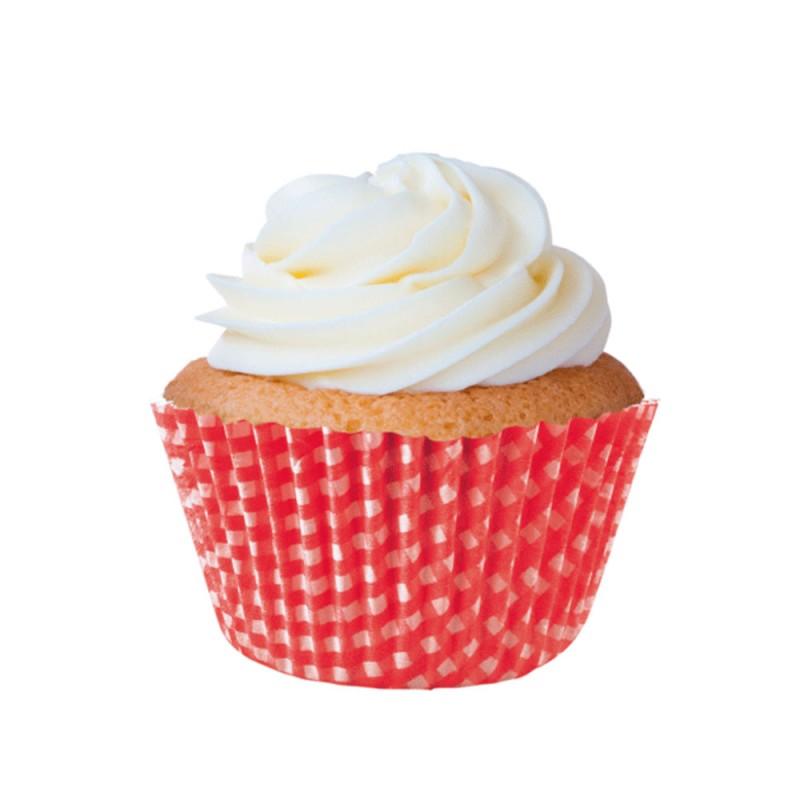 Forminha para Cupcakes • Xadrez Vermelha • 45un • Mago