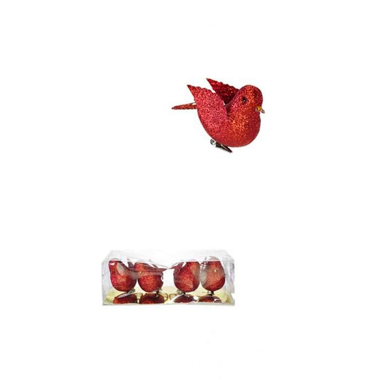 Enfeite Passarinho • Vermelho • 4un • Pequeno • Natal