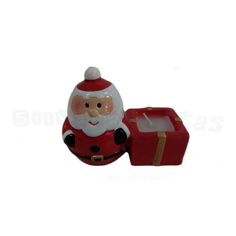 Enfeite Cerâmica • Papai Noel com Vela