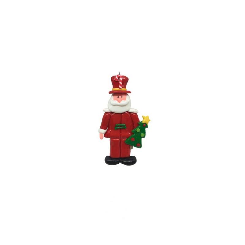 Enfeite • Papai Noel • Segurando Mini Arvore
