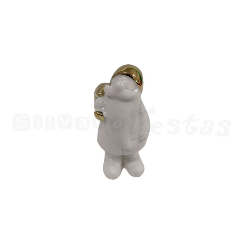 Enfeite de Porcelana • Papai Noel • Branco e Dourado