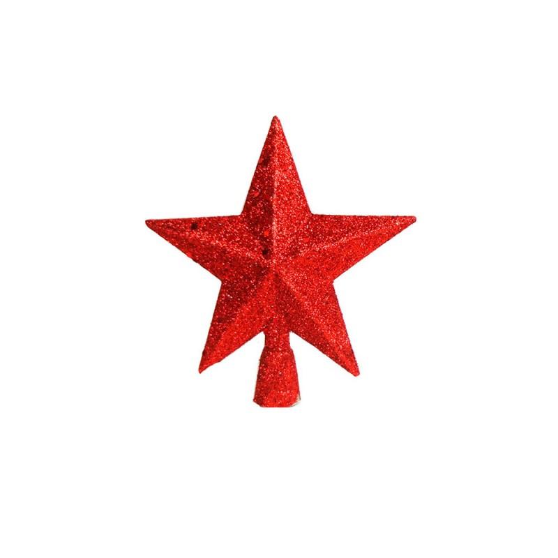 Estrela • Vermelha com Glitter • Média