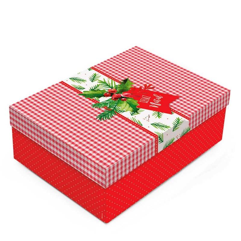 Caixa Grande com Elástico • Retangular • Feliz Natal