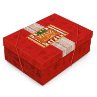 Caixa Grande Vermelha com Elástico • Retangular • Feliz Natal