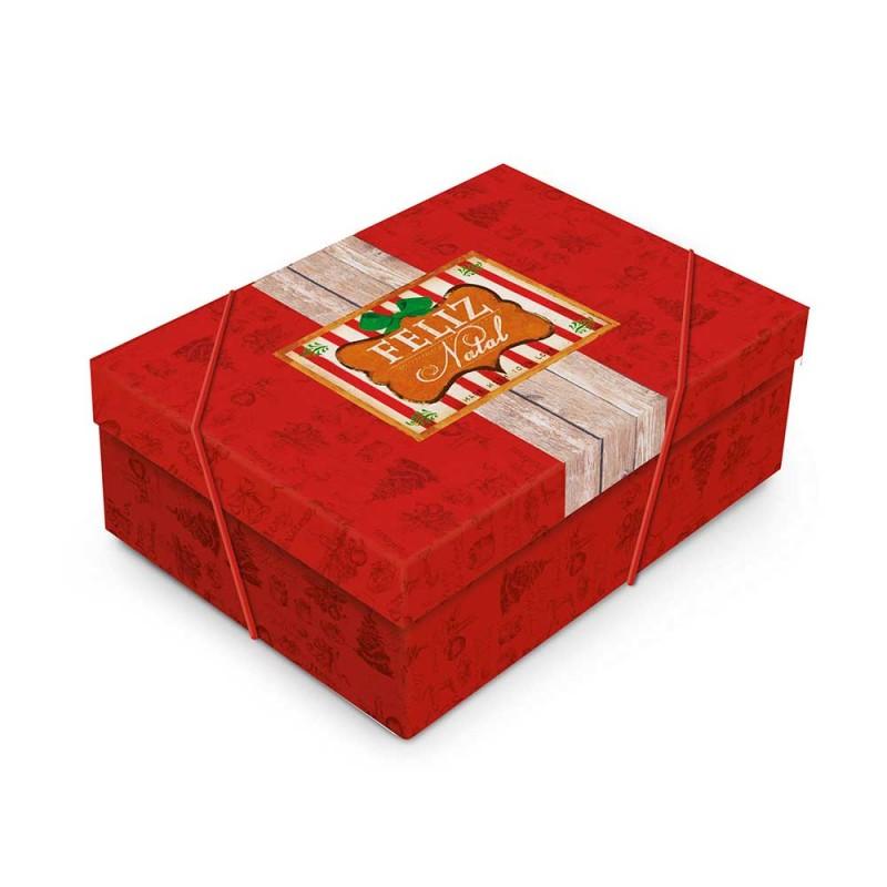 Caixa Média Vermelha com Elástico • Retangular • Feliz Natal