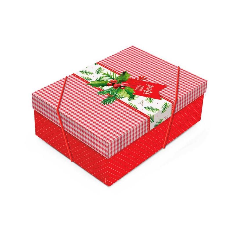 Caixa Média com Elástico • Retangular • Feliz Natal