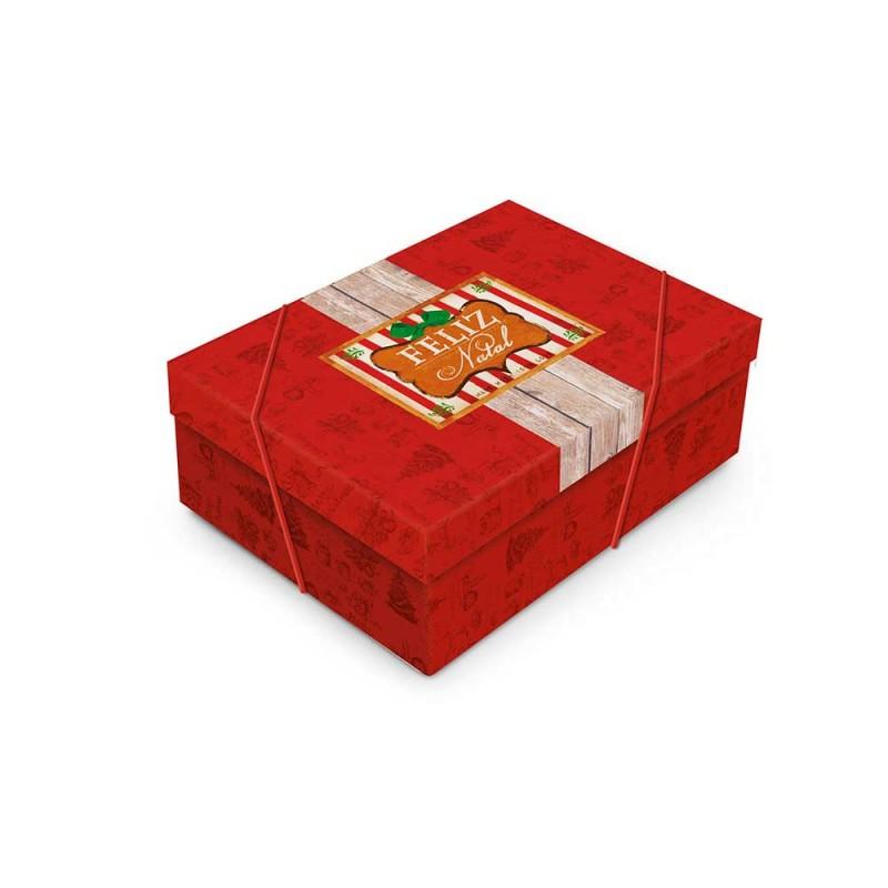 Caixa Pequena com Elástico • Retangular • Feliz Natal