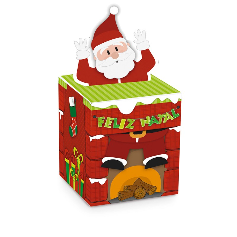 Caixa Panetone com Aplique • Papai Noel ( Ajustar Quantidade)