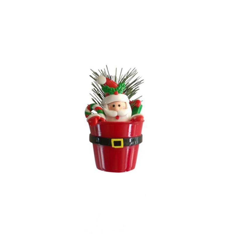 Enfeite • Papai Noel no Vaso